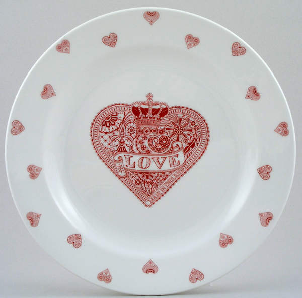 Queens Made with Love pink Dinner Plate
