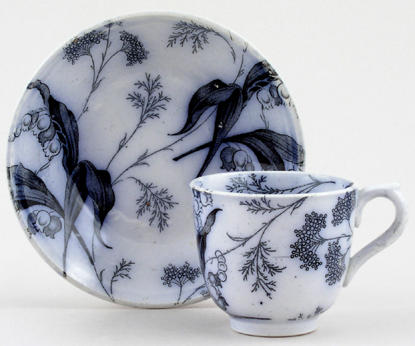 Beech Eva grey Toy Teacup and Saucer c1880