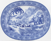 Meat Dish or Platter Tiger Hunt  c1825