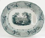 Meat Dish or Platter with tree and well c1840