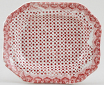 Dimmock Unidentified Pattern pink Toy Meat Dish or Platter c1840