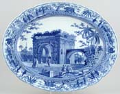 Meat Dish or Platter A Triumphal Arch of Tripoli in Barbary c1820