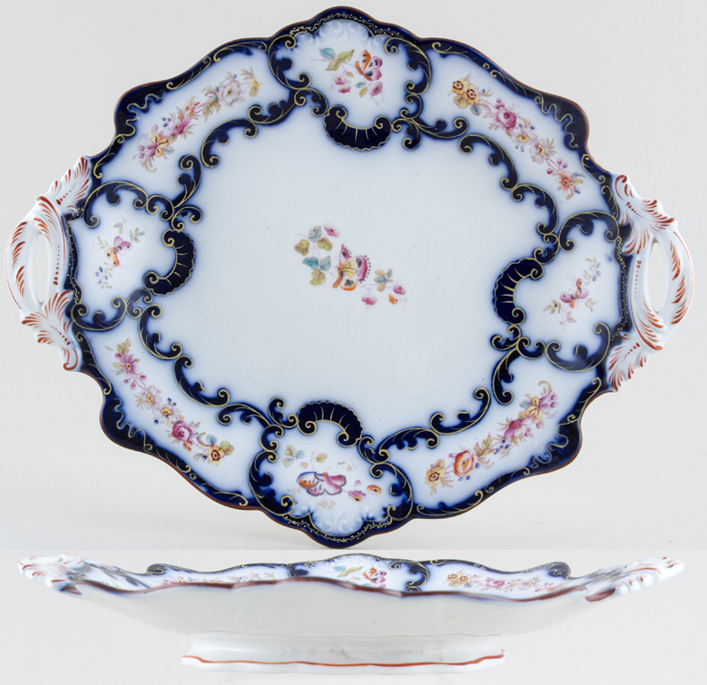 Unattributed Maker Unidentified Pattern blue with colour Dessert Dish c1850