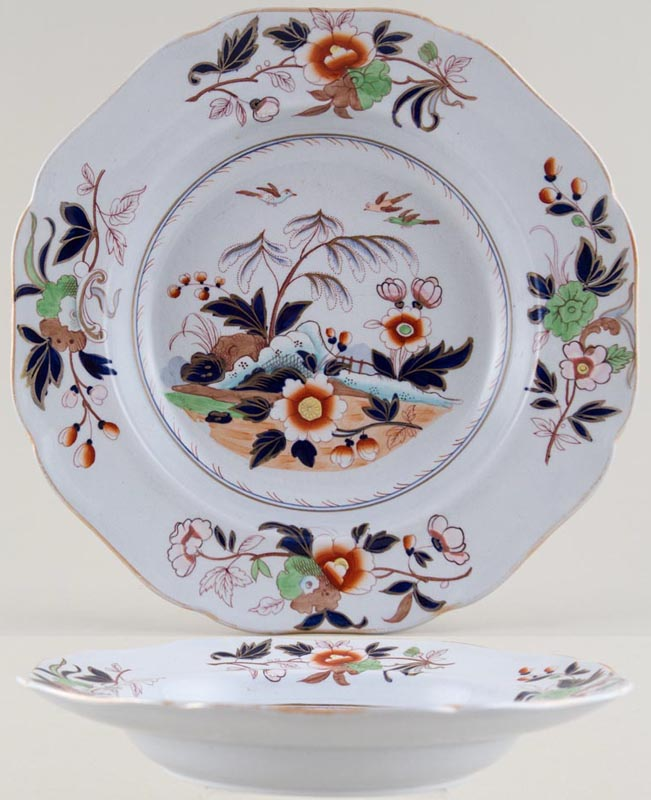 Ridgway Unidentified Pattern colour Soup Plate c1840