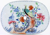 Spode Pheasant blue with colour Drainer c1820