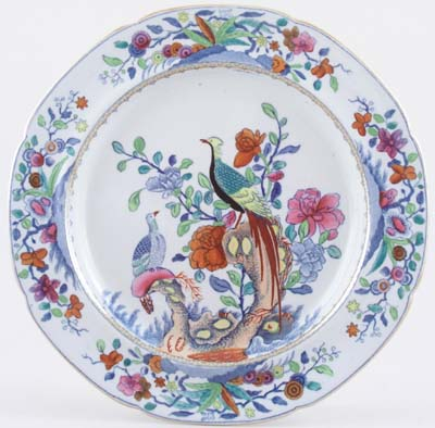 Spode Pheasant blue with colour Plate c1840