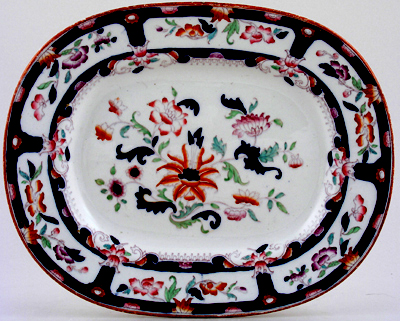 Brownfield Unidentified Pattern blue with colour Meat Dish or Platter c1890