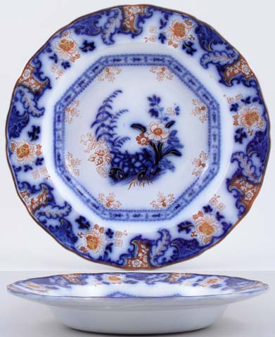 Davenport Chantilly blue with colour Soup Plate c1844