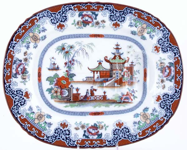 Unattributed Maker Number 1 467 black with colour Meat Dish or Platter with tree and well c1845