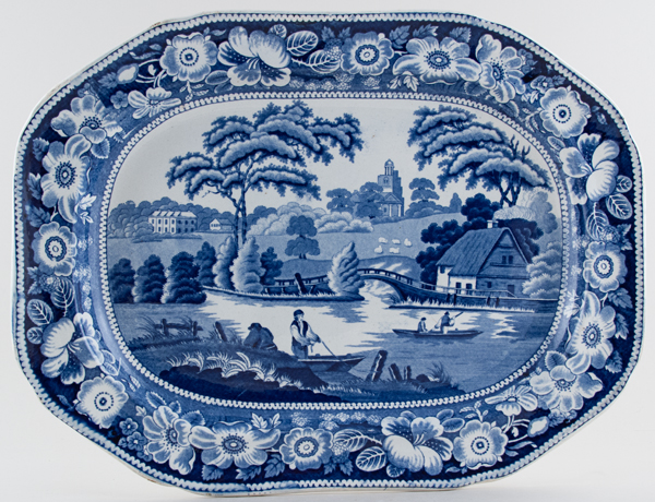 Unattributed Maker Wild Rose Meat Dish or Platter c1825