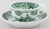 Unattributed Maker Unidentified Pattern green Cup and Saucer c1850