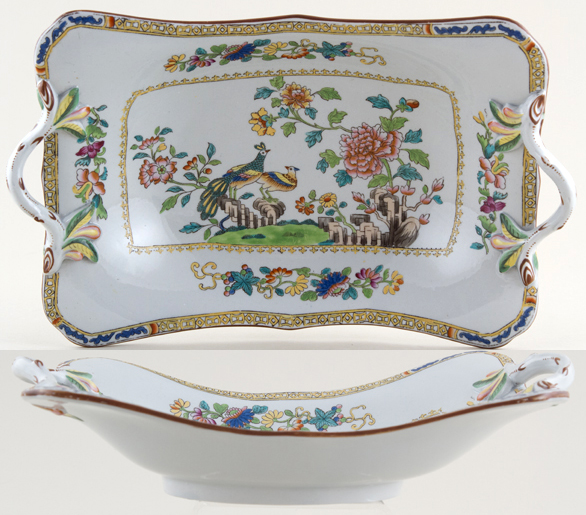 Spode Peacock colour Comport c1840