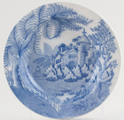 Davenport Fisherman and Ferns Fruit Saucer c1810