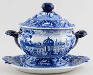 Ridgway Oxford and Cambridge College Series Sauce Tureen & Stand Trinity Cambridge c1825