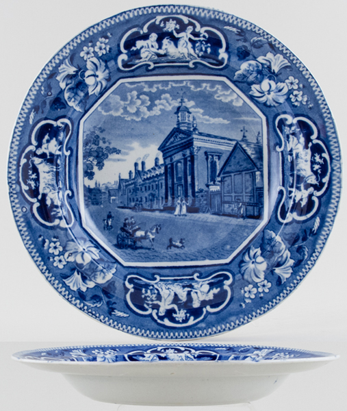 Ridgway Oxford and Cambridge College Series Soup Plate Pembroke Hall Cambridge c1825