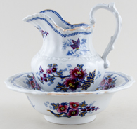 Ridgway Japan Flowers blue with colour Ewer and Bowl childs c1825