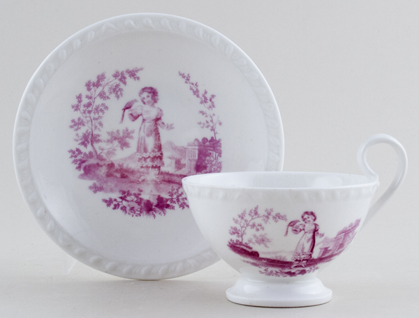 Ridgway Unidentified Pattern plum Cup and Saucer c1825