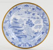 Spode Two Temples Plate or Stand small c1820