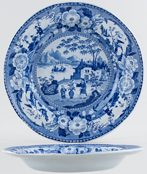 Unattributed Maker Chinese Flowering Pot Soup Plate c1825