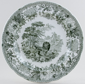 Spode Aesops Fables green Plate The Fox and The Lion c1830