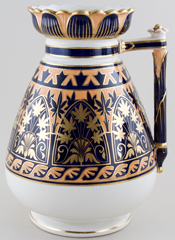Davenport Unidentified Pattern blue with colour Ewer c1883