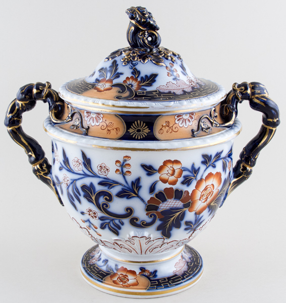Ridgway Unidentified Pattern blue with colour Ice Cooler c1830