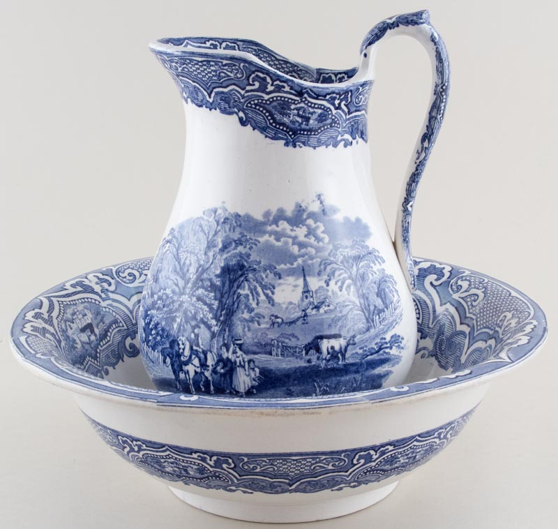 Unattributed Maker Unidentified Pattern Ewer and Bowl c1850