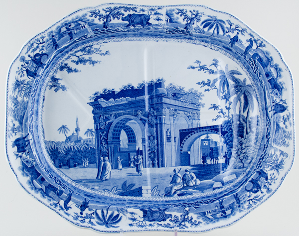 Spode Caramanian Series Meat Dish or Platter with Tree and Well c1815
