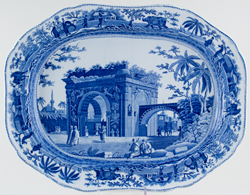 Spode Caramanian Series Meat Dish or Platter A Triumphal Arch of Tripoli in Barbary c1815
