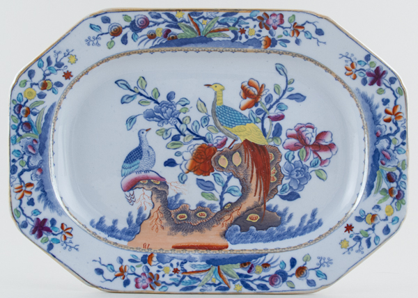 Spode Pheasant blue with colour Meat Dish or Platter c1876