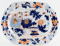 Unattributed Maker Japan Basket blue with colour Meat Dish or Platter c1840