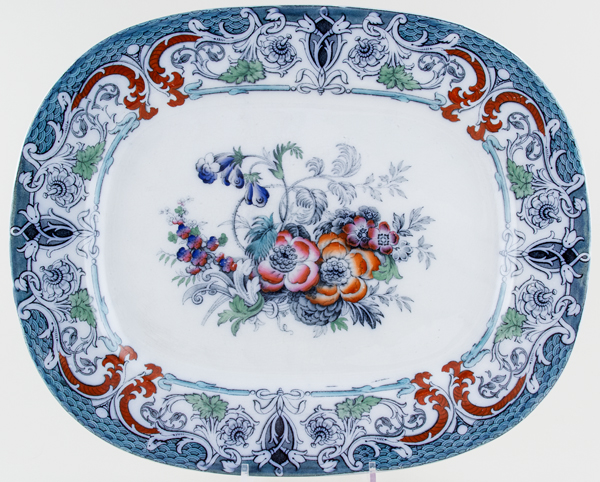 Marple Turner Flora grey with colour Meat Dish or Platter c1855