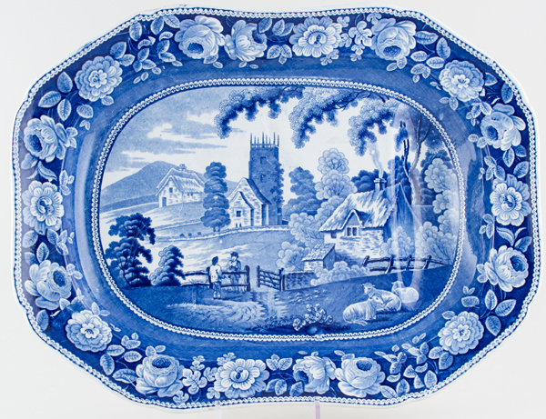 Unattributed Maker Village Church Meat Dish with Tree and Well c1825