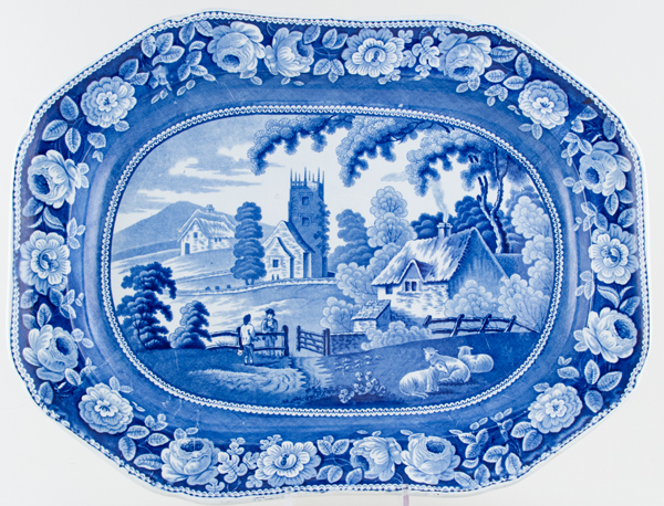 Unattributed Maker Village Church Meat Dish or Platter c1825