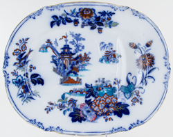 Wood and Brownfield Ciris blue with colour Meat Dish or Platter with Tree and Well c1840