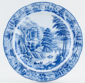 Leeds Pottery Scene After Claude Lorraine Plate c1820