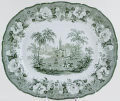Phillips Polish Views green Meat Dish or Platter Patriots Departure c1830