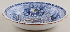 Adams Chinese Bird blue with colour Bowl c1920s