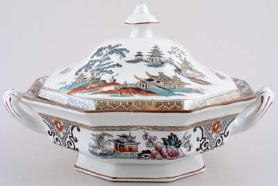 Adams Shanghai black with colour Dish with Cover c1910