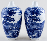 Adams Cattle Scenery Vases pair of c1910