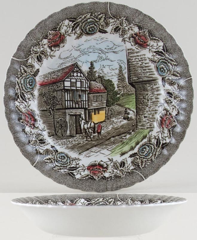 British Anchor English Country Scenes colour Cereal or Dessert Bowl large c1970s