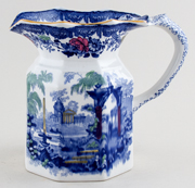 Ashworth Fountains blue with colour Jug or Pitcher c1930s