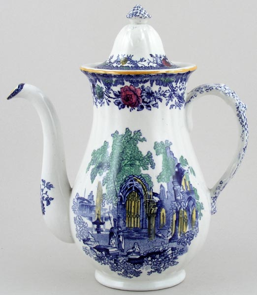 Ashworth Fountains blue with colour Coffee Pot  large c1930s