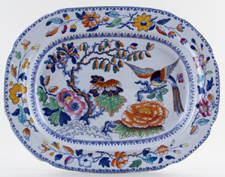Ashworth Flying Bird colour Meat Dish or Platter c1880