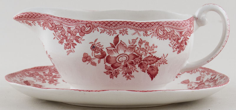 Wedgwood and Co Asiatic Pheasants pink Sauce Boat On Fixed Stand c1970s