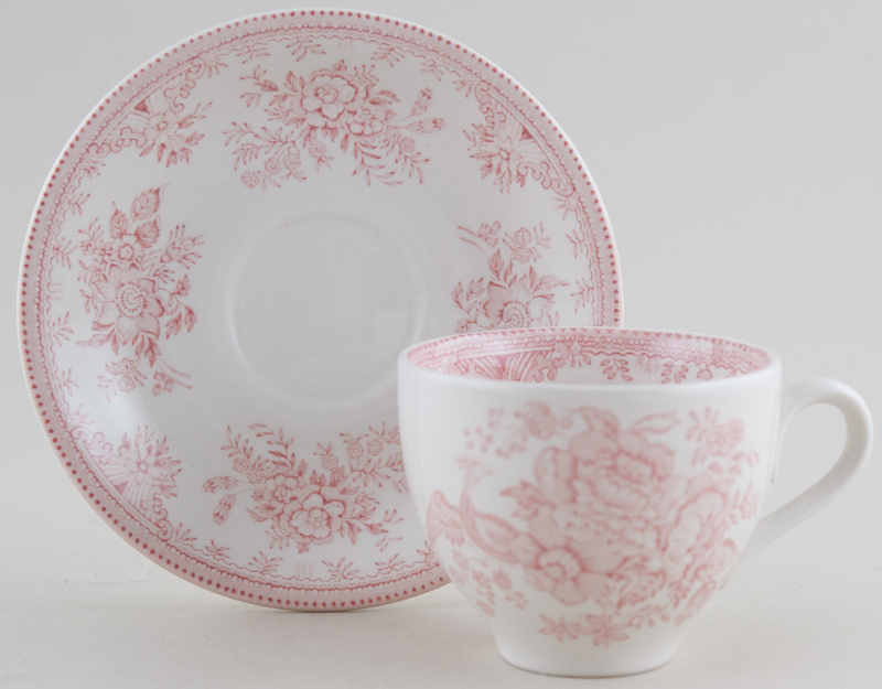 Burleigh Asiatic Pheasants pink Teacup and Saucer