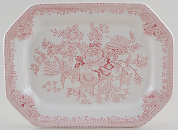 Burleigh Asiatic Pheasants pink Meat Dish or Platter rectangular small