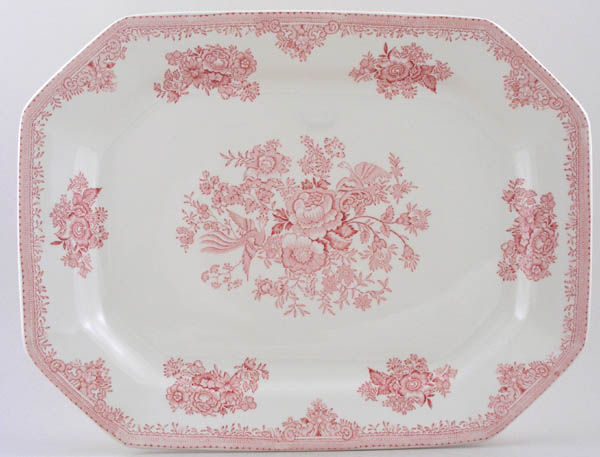 Burleigh Asiatic Pheasants pink Meat Dish or Platter rectangular large