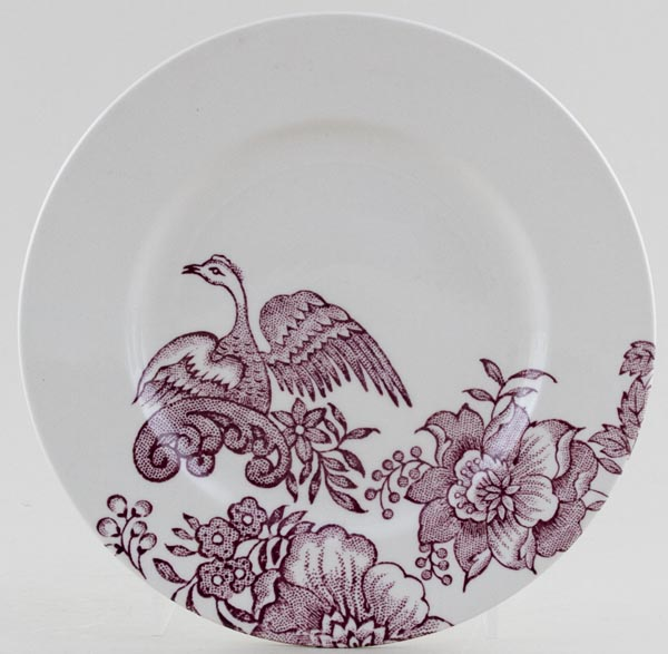 Burleigh Asiatic Pheasants plum Side or Cheese Plate Accent
