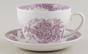 Burleigh Asiatic Pheasants plum Breakfast Cup and Saucer